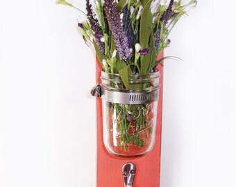 Cottage Chic Wall Flower Vase 1 Hook- Key Holder- Coral - Towel Hook- Country- French Chic- Shabby- Country Decor- Choose From Many Colors