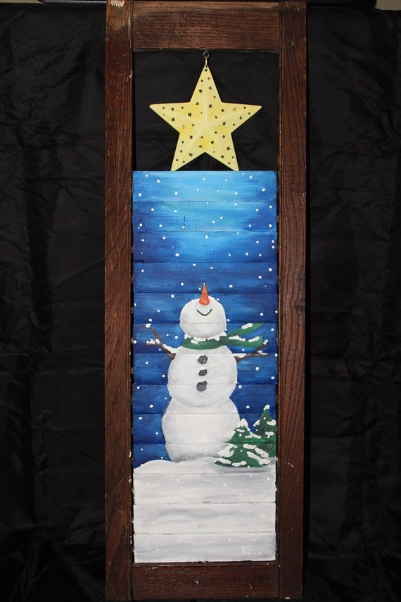 Items Similar To Snowman Shutter Painting On Etsy