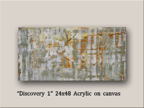 "Original Modern Abstract Art by williampaints Acrylic 24x48 large painting ready to hang ""Discovery 1"""