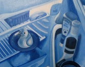 Surreal Painting of Rubber Ducky in Fridge