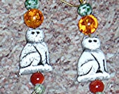 Czech glass cat bead and gemstone earrings handmade by me.