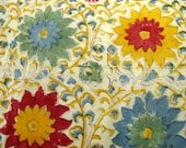 Vintage 60s Hand Printed Inda Hippie Cotton Bedspread, Blue & Red Flower Power Print