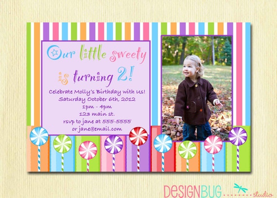 2 Year Old Girl Birthday Invitations Girls Lollipop Party Invitation DIY Printable Candy