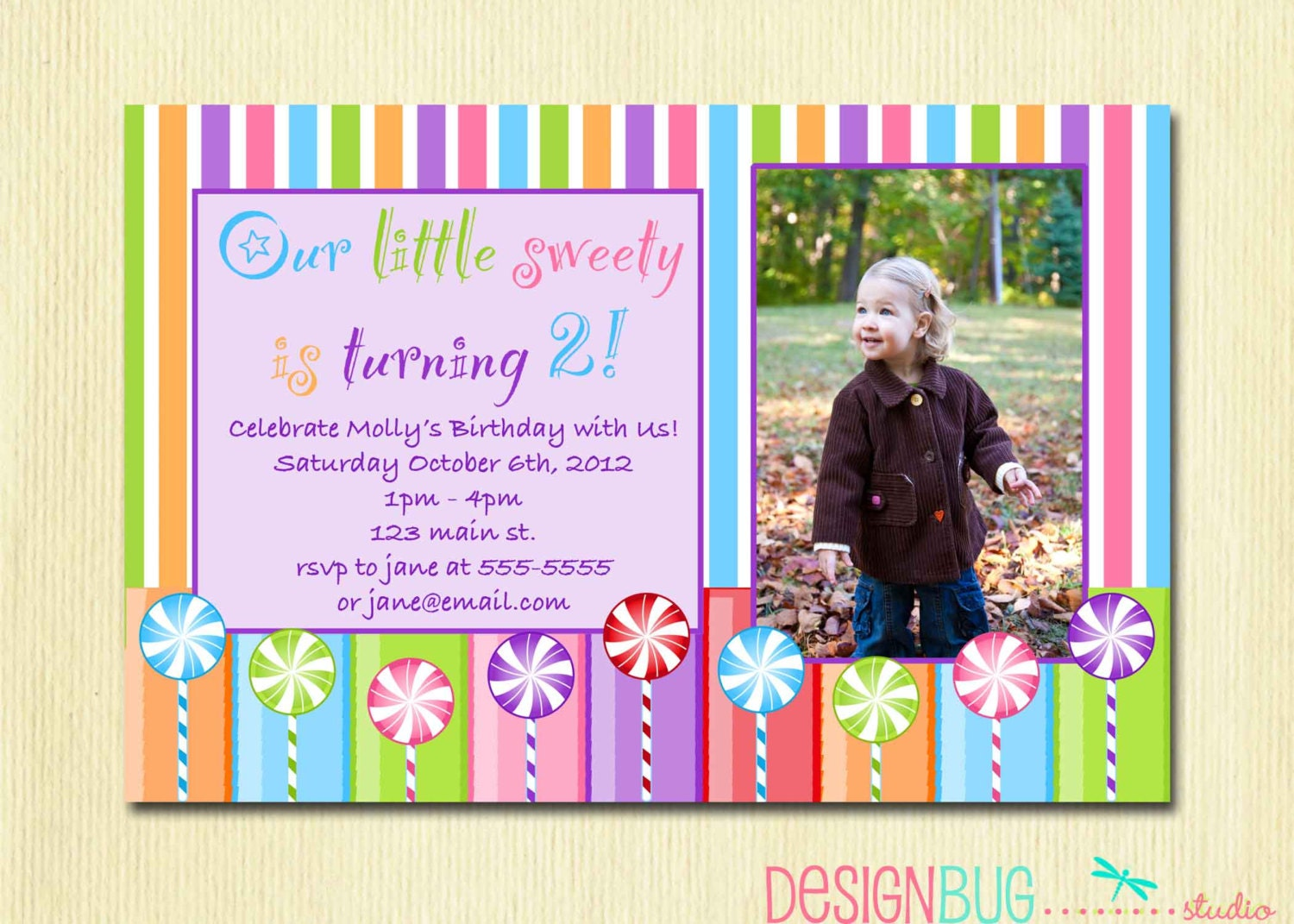 Girls Lollipop Birthday Party Invitation DIY Printable Candy – 3 Year Old Birthday Invitation