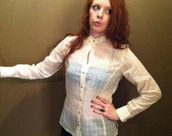 Cream Colored Sheer Checker Patterned Button Down Shirt
