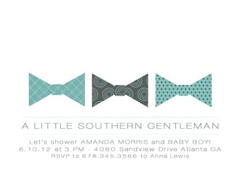 Bow Tie Little Gentleman Baby Shower Invitation with Envelopes, Digital Download JPG, Note Cards