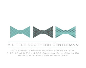 Bow Tie Little Gentleman Baby Shower Invitation Digital Printable