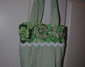 Clearance, Sale, Green seersucker diaper bag with flowers