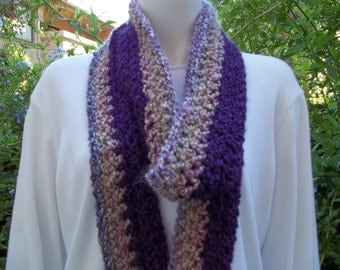 Long crochet  fringe scarf purples.   READY TO SHIP