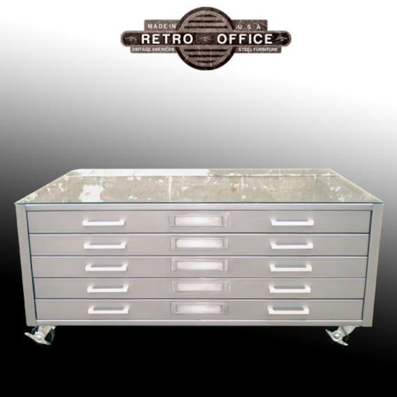 Items Similar To Vintage Steel Flat File Coffee Table