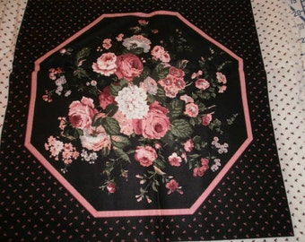 Black & pink floral pillow panels