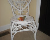 Vintage Heart White Wicker Chair Country Cottage Heart Scroll Shabby Chic Tendril Woven Wicker