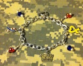 I Love My Soldier Charm Bracelet with Red, White, & Blue Accents