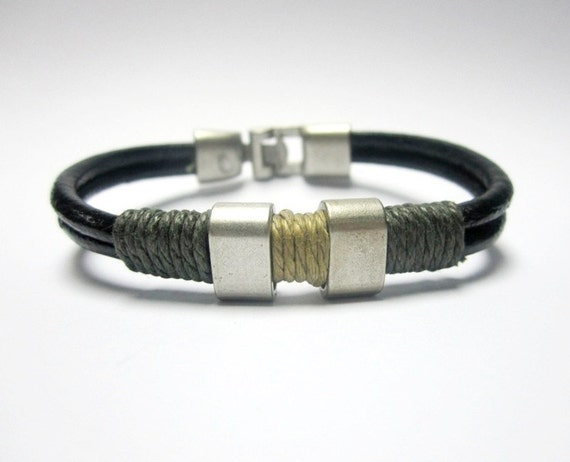 Leather Bracelet for a Man with Army Green and Beige Strings attached Silver Plated Steel Men Bracelet