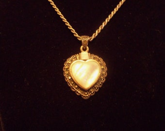 Sterling Silver Marcasite Mother of Pearl Necklace