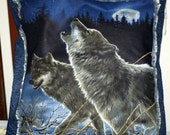 Pair of Wolf Pillows 16 x 16