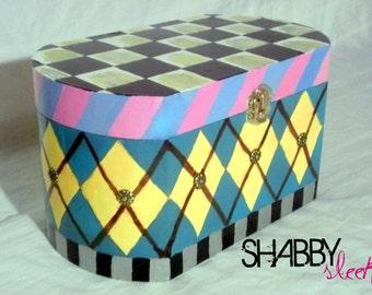 GORGEOUS Whimsical Hand painted decorative keepsake box.