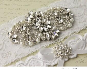 Wedding Garter set, Bridal Garter set, White Lace Garter set, Rhinestone Garter, White Garter, Lace garter, Crystal Garter set