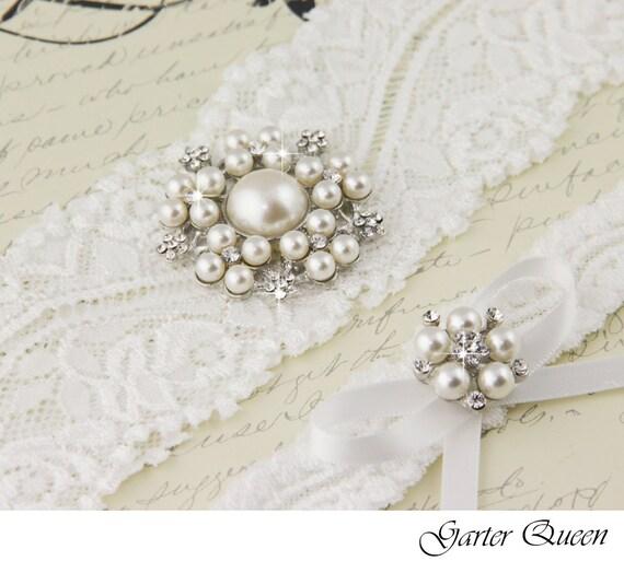 White or Ivory stretch lace Bridal Garter set
