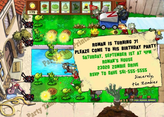 plants vs zombies party invitation personalized party, Party invitations