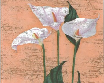3 Decoupage Paper Napkins, flower series