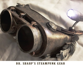 Rustic Steel Metallic Finish Steampunk Goggles by Dr. Sharp
