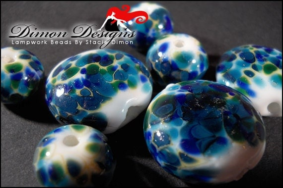 Tidal Pool - Blue & White Lampwork Bead Set