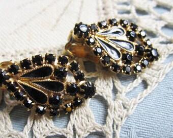 1950's Black Jet clip on earrings - Hollywood Regency Era - Estate find!