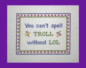 Troll Meme PDF Cross Stitch Pattern, LOL Cross Stitch Pattern, Instant Download