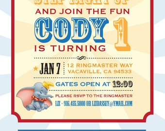 Dumbo Circus Personalized Birthday Invitation / PRINTABLE / Digital File / Carnival / 5x7