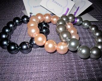 Bracelets Faux Pearl Pink/Lt Gray/Dk Gray 0014