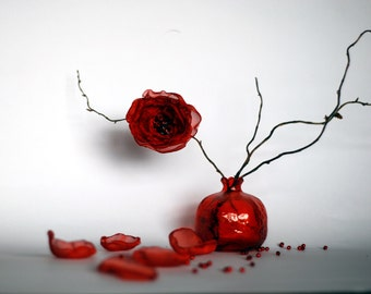 Small Red Glass Pomegranate. Red vase. Perfect gift