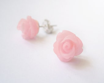Romantic pink cabochon rose stud earrings