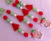 Gingerbread girl chunky necklace
