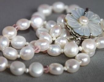 Timeless - Freshwater Pearl & Swarovski Crystal Necklace