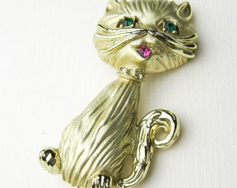 """1950s Kitty Cat Sweater Pin/ Brooch, Signed BSK, Costume Jewelry, Rhinestones, 2"""", Mad Men Bling, USA."""