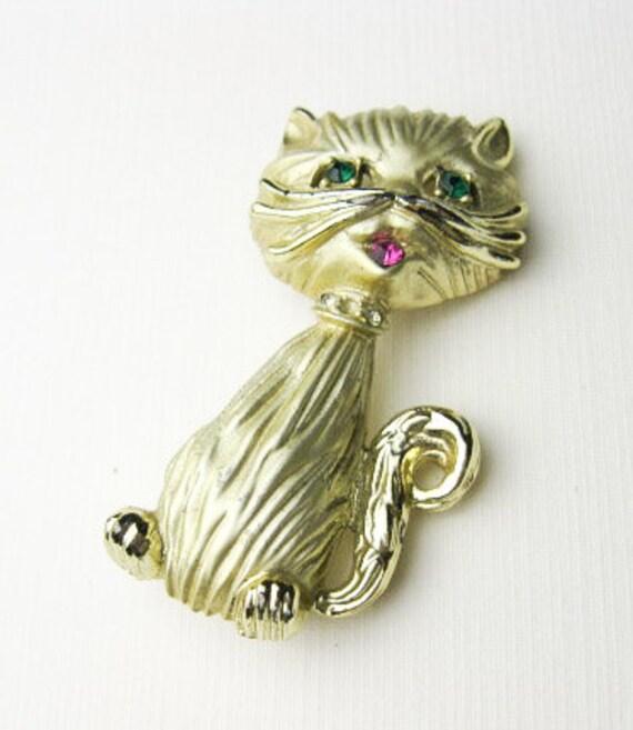 1950s Madmen Bling Cat Sweater Pin/ Brooch, Signed BSK, Costume Jewelry, Rhinestones, USA.