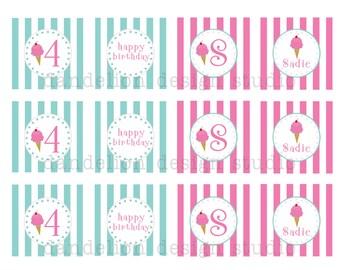 PRINTABLE Party Tags - Ice Cream Shoppe Party Collection - Dandelion Design Studio