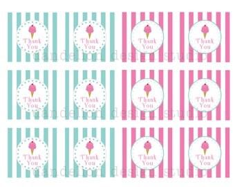 PRINTABLE Favor Tags - Ice Cream Shoppe Party Collection - Dandelion Design Studio