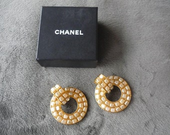 AUTHENTIC CHANEL HOOPED Earrings