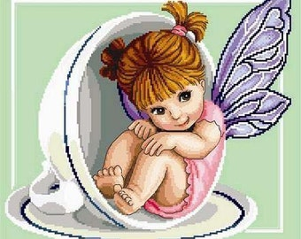 Teacup Fairy -Cross Stitch PDF Pattern