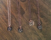 skull - star - heart small charm necklaces recycled material - copper metal
