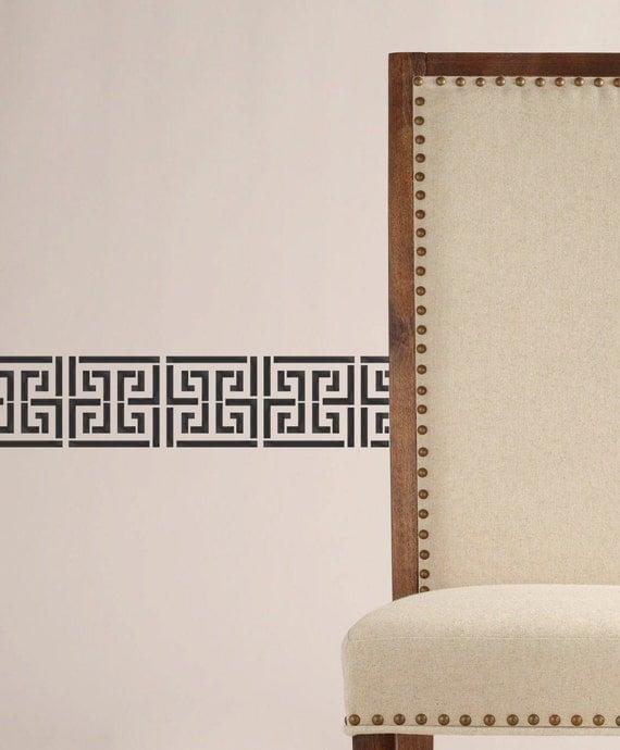 Greek Key Wall Decor : Wall stencil greek key new modern look geometric by