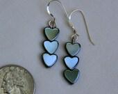 Semi Precious Hematite Heart Earrings