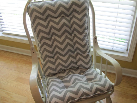 tufted glider rocker rocking chair cushion set in gray and white