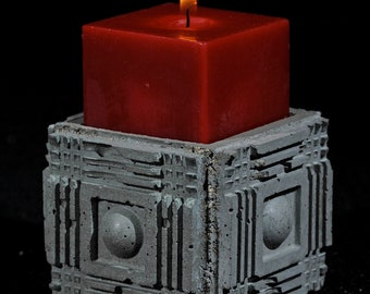 Cement Candle Holder, Ancient Ruin #1