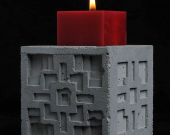 Cement Candle Holder, Textile Block, Multi Design