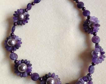 Amethyst and Shell Pearl Necklace with Sterling Silver Clasp - Genuine Gemstone