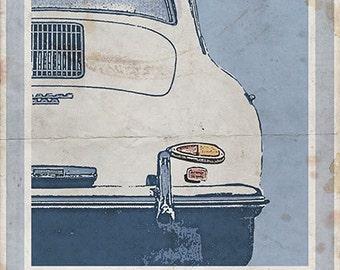 Porsche 356 (rear) - Vintage Style Poster