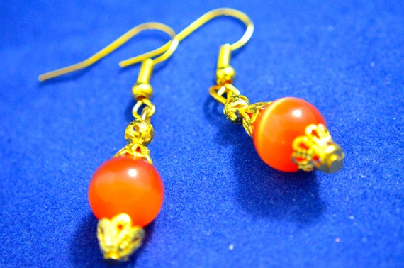 "Mexican Opal Earrings, 1.5"" long, Natural, Beautiful Orange with Gold French Hooks E170"